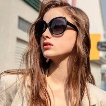 بارزين النظارات الشمسية النساء العلامة التجارية مصمم أنيقة المتضخم نظارات شمسية الإناث إطار كبير الاستقطاب UV400 السيدات ظلال أسود P6216