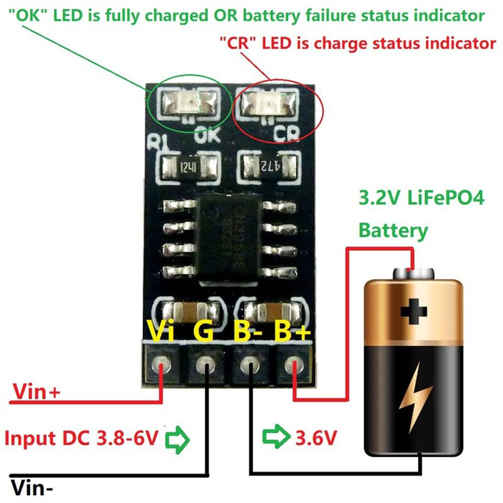 1A 3.2V 3.6V LiFePO4 Battery Dedicated Charging Module Li Polymer Cell Battery Charger Input 3.8V 4.2V 4.5V 5V For Ebike UPS Car