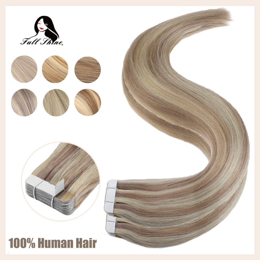Full Shine Highlight 40pcs 100g 100% Human Hair Piano Color Tape In Hair Extensions Machine Made Remy Hair Tape On Extension