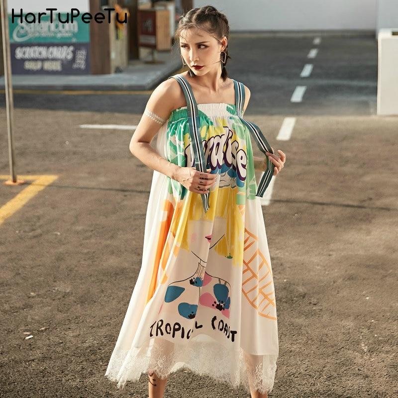 Spaghetti Strap Dress Women Summer 2020 Casual Overalls Midi Dresses Funny Print Patchwork Laciness Hem Elastic Strapless Collar