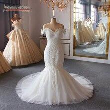 งานแต่งงานชุดเจ้าสาว ชุดพิเศษลูกปัดลูกไม้ชุดนางเงือก