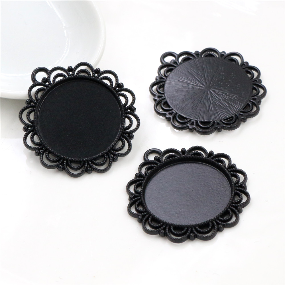 New Fashion 3pcs 25mm Inner Size Black Plated  Flower Simple Style Cabochon Base Setting Charms Pendant (A4-57)