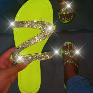 Women Summer Flat Slippers Rhinestone Shoes Open Toe Roman Beach Sandals ladies Sexy Flip Flops Black Non-slip Slides