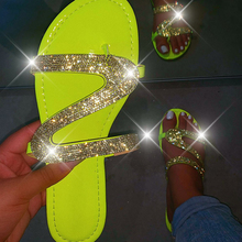 Women Summer Flat Slippers Rhinestone Shoes Open Toe Roman Beach Sandal