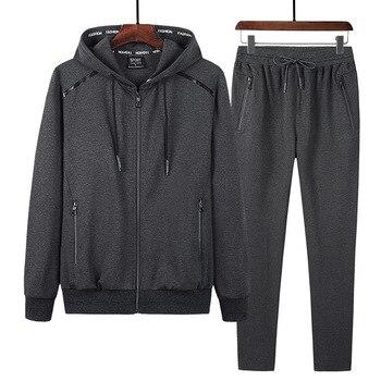 2 Pieces Suits Hoodies Jogger Men Winter Sportwear Sets Hooded Jackets Pants Hip Hop Sports Tracksuit Men's Clothing Large Sizes 2