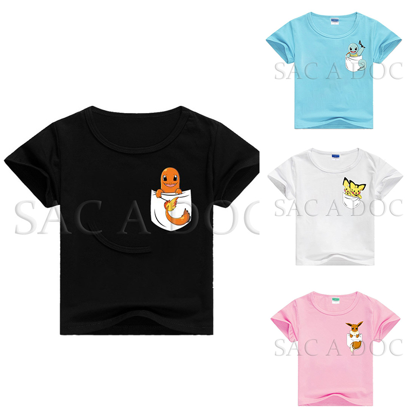 Pokemon Pocket Squirtle/Eevee/charmander Kids T Shirt Baby Boys Girls 3D Printed Tee Tops Summer Casual Short Sleeve Tee Shirts image