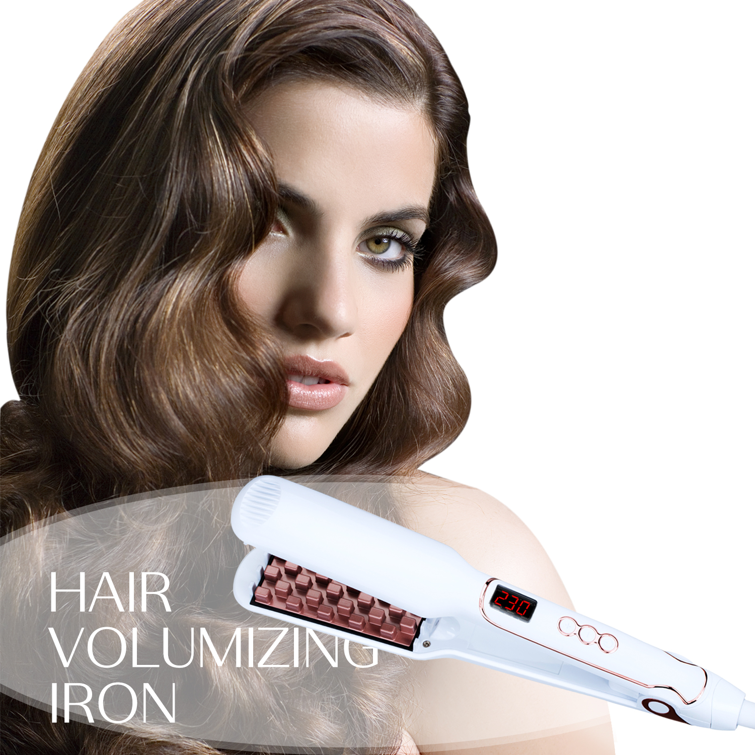 Fluffy Pelurus Rambut Rambut Volumizing Iron Flat Iron Digital Flat Iron Dengan LCD Display Listrik Fluffy Styling Hair Lifter