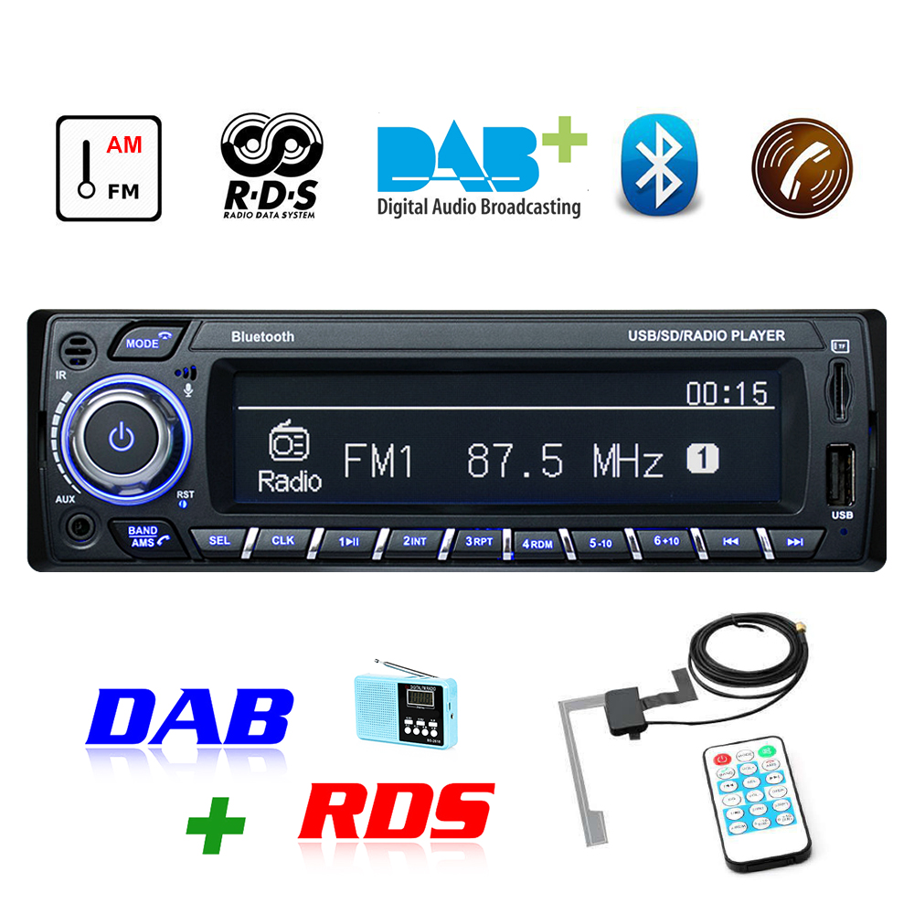 DAB+ Autoradio <font><b>1</b></font> <font><b>Din</b></font> <font><b>Car</b></font> <font><b>Radio</b></font> <font><b>RDS</b></font> Handsfree MP3/SD/MMC dab+FM USB LCD Screen Digital Audio indash <font><b>Car</b></font> stereo Bluetooth TF Card image
