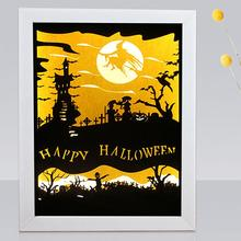 Fashion Safe Halloween 3D Moon Witch USB LED Night Light Papercut Lamp Bedroom Table Decor