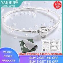 With Certificate 925 Solid Silver Charm Bracelets for Women Long 16-23cm Wide 3mm Snake Bone Chain Bracelets Fine Jewelry SL005
