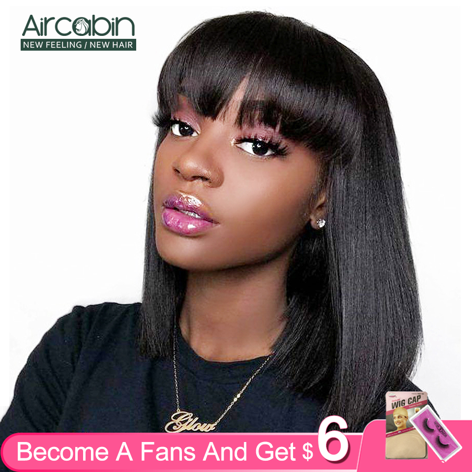 Aircabin Bangs Bob Wigs Brazilian Straight Remy Human Hair Glueless Deep Part Lace Front Closure Shot Wigs For Black Women