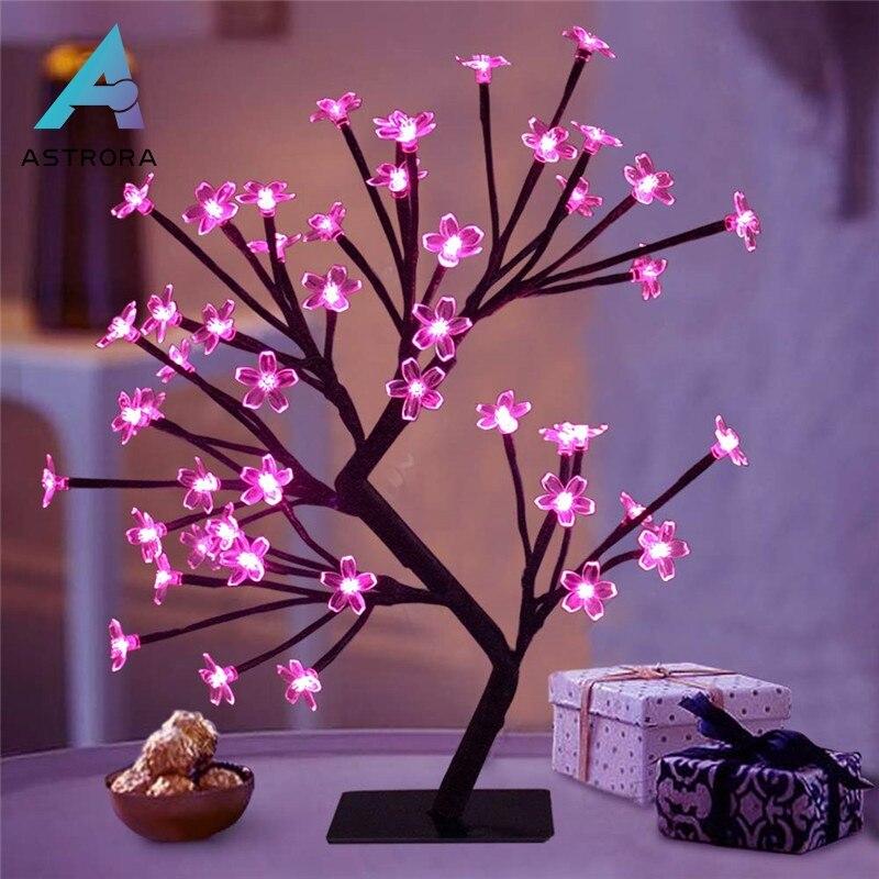 ASTRORA LED Diy Cherry Blossom Tree Lights Christmas Decoration Countertop Tree Lamp Modern Home Decoration Gift