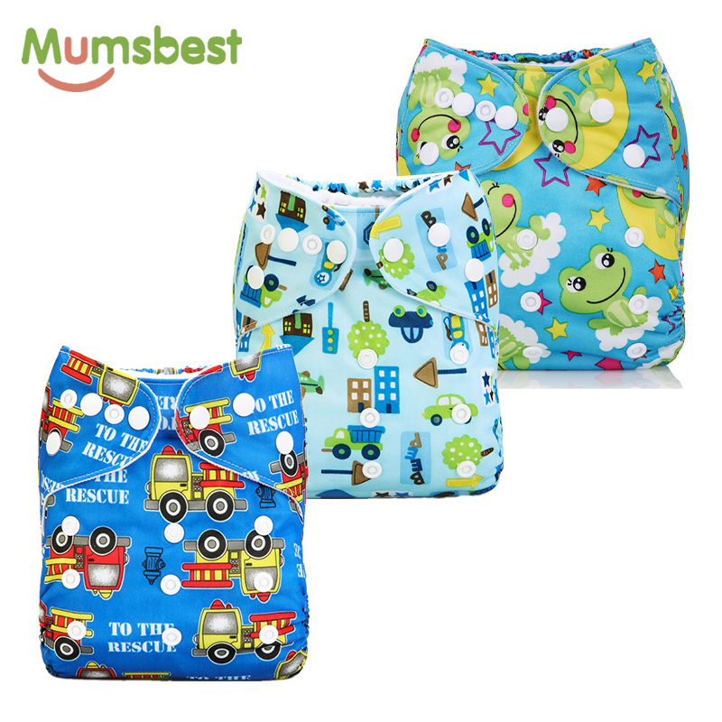 [Mumsbest] 3PCS Washable Waterproof Baby Nappy PUL Suit 3-15kgs Adjustable Boy Diaper Covers Car Print Design Cloth Diaper Cover