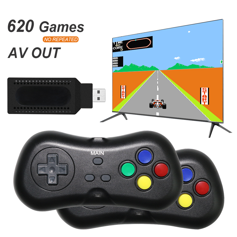 USB Wireless Handheld TV Video Game Console Build In 620 Classic 8 Bit Game mini Console Dual Gamepad AV Output