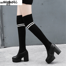 2020 Women High Boots Size 43 Pairs Of Heels To Round Corner Womens Thighs Autumn