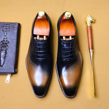 Fashion Man Formal Shoes High Quality Brogue Lace Up Genuine Leather Men Shoes Business Oxford Shoes Men Wedding Dress Shoes A79
