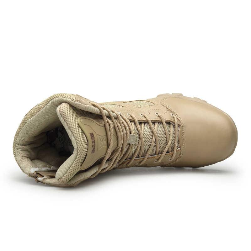 Uomini Tattico Militare Stivali di Cuoio di Inverno Speciale Forza Desert Caviglia Combattimento Stivali da Uomo in Pelle Stivali da Neve Esercito Scarpe Big Size