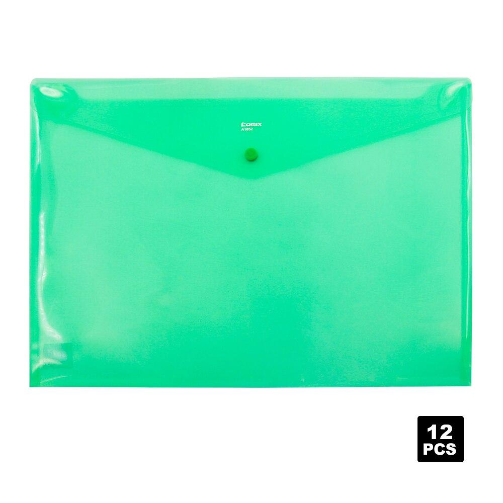 12pcs/lot  A3  Button Document Bag Paper File Folder Stationery Envelop Folder Transparent Colors A1852