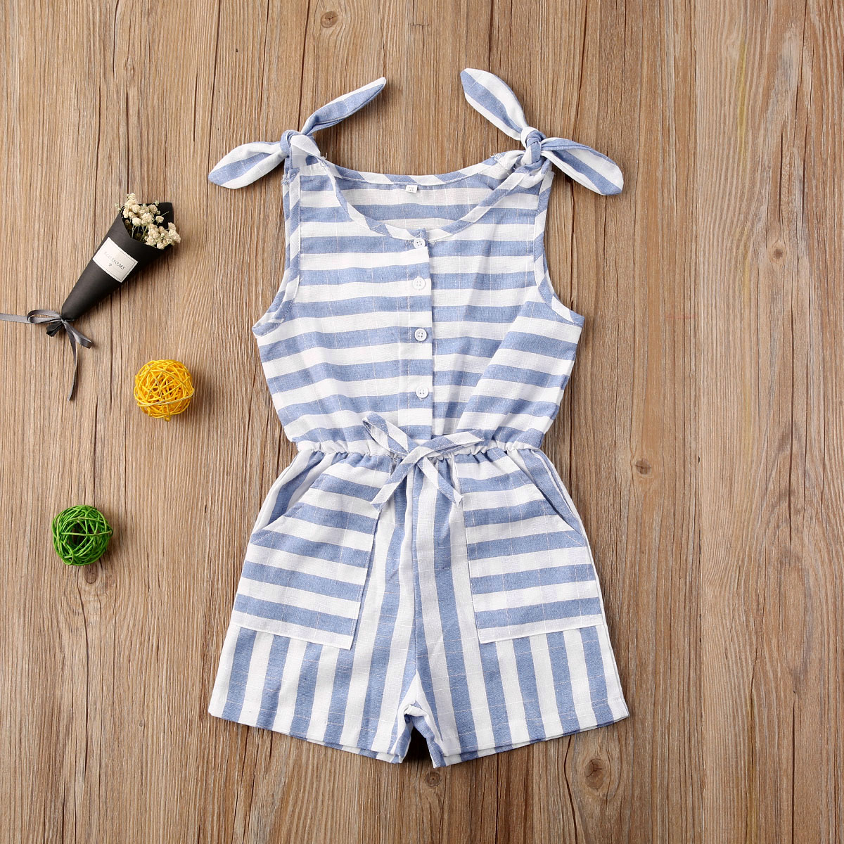 Pudcoco Toddler Baby Girl Clothes Summer Striped Sleeveless Romper Jumpsuit One-Piece Outfit Sunsuit Playsuit Clothes Summer