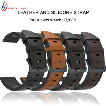 20/22mm Watch Strap for Huawei GT/GT2 42mm 46mm Genuine leather Silicone Bands For huawei Honor Magic Bracelet