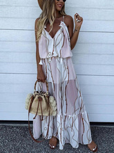 2019 Summer Women Vacation Holiday Beach Long Dress Female Vintage Spaghetti Strap Chain Print Tassel Detail Maxi Casual Dress цена 2017