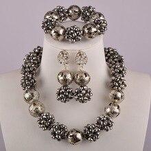 Серебряный хрустальный шар из бисера нигерийское свадебное ожерелье Африканский бисер комплект ювелирных изделий свадебные комплекты ювелирных изделий