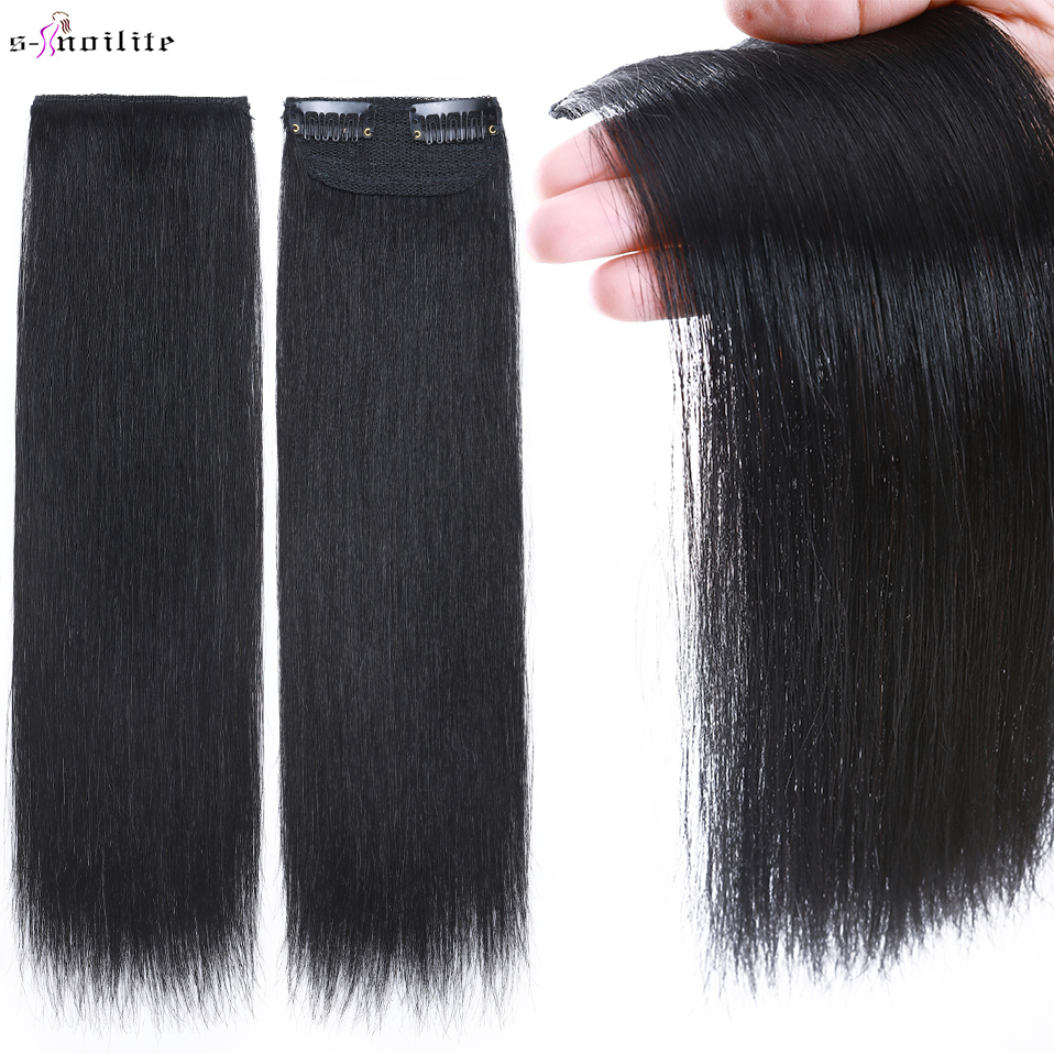 S-noilte 1pc Straight Clip in Hair Extensions Human Hair Side Head 6inch 10inch Black Brown Women Fake Hairpiece Platinum Blonde