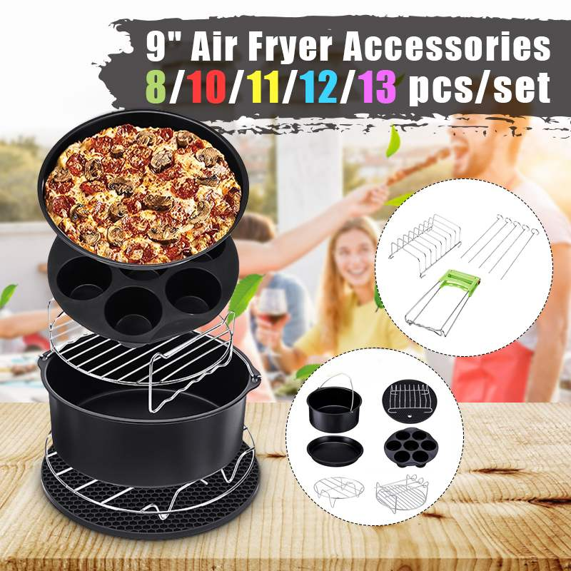 13x Air Fryer Accessories 9 Inch Fit For Airfryer 5.2-6.8QT Baking Basket Pizza Plate Grill Pot Kitchen Cooking Tool For Party