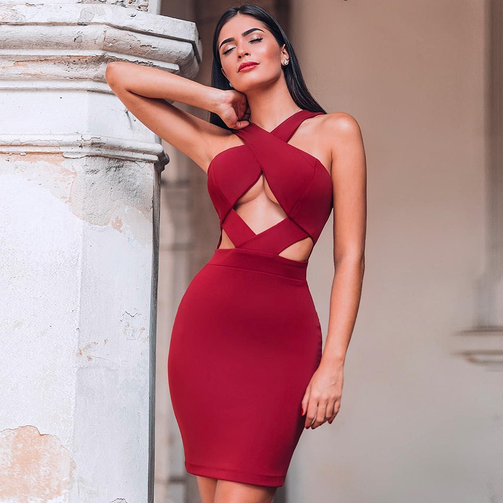 Ocstrade New In Runway Fall 2019 Fashion Cut Out Hot Sexy Bandage Dress Club Party Red Bandage Dress Rayon Women Bodycon Dress