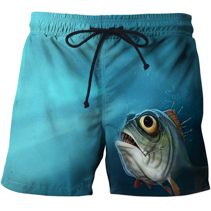 New Fashion 3D Fishing Printed Board Shorts Men Ocean Fish Beach Shorts For Male Summer Sport Surfing Shorts Drop Ship