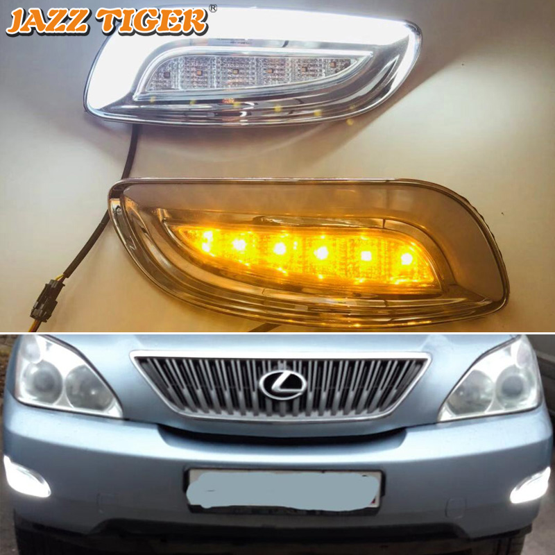 JAZZ TIGER Yellow Turn Signal Function 12V Car DRL Lamp LED Daytime Running Light For Lexus RX300 RX330 RX350 2003 - 2008 2009