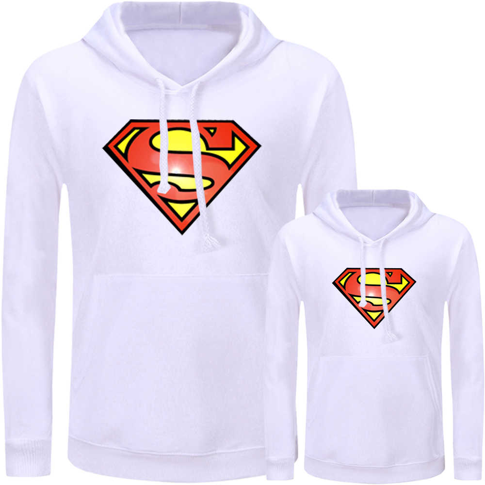 Superman the Flash Symbol Design Matching Family Outfits Hoodies Dad Mom Daughter Son Sweatshirts Printed Pullovers Clothes Gift
