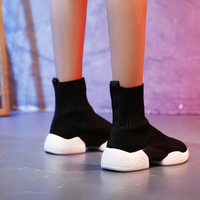 Tleni 2018 Woman Casual Shoes Flat Platform Heels Black white sock shoes High top Gym Shoes Trainers Breathable Sneakers ZX 95