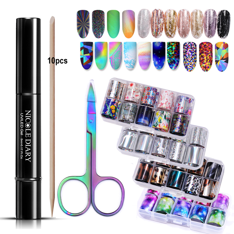 NICOLE DIARY Holographic Nail Foil Set Nail Sticker Paper Decals Nail Art Transfer Sticker Decoration DIY Glue Tool Kit 13/7Pcs