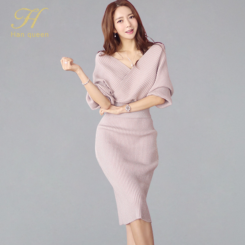 H Han Queen Sexy Elegant Knitted 2 Pieces Set Women 2019 Autumn Winter Deep V-neck Sweater Tops And Sheath Bodycon Pencil Skirts