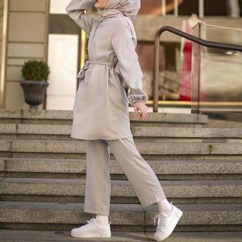 Two piece Muslim Abaya Turkish Tops Pants Vetment Femme Hijab Dress Abayas For Women Caftan