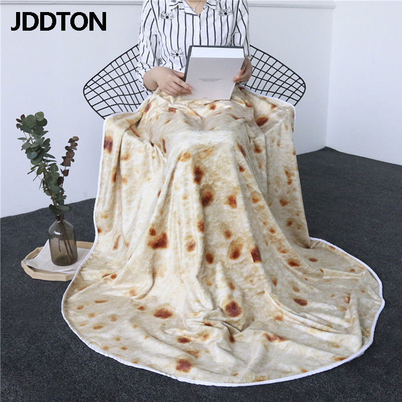 JDDTON Tortilla Blankets Burrito Waffles Pizza Donut Avocado Food Soft Fleece Blanket Home Picnic Warm Flannel Blankets BE146