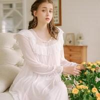 Autumn Women Long Sleeve Cute Sleep Wear Lace Tulle Night Dress Sexy Solid Princess Ruffles Nightgown