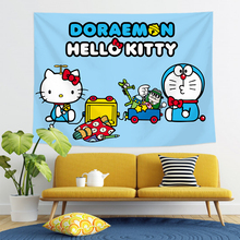 Cartoon jingle cat tapestry decoration bedroom pink girl room dormitory renovation wall covering Hello Kitty anime tapestry 2020