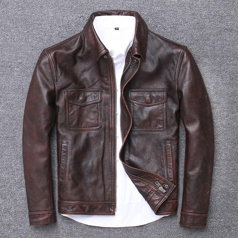 YR! Бесплатная доставка. Распродажа. Распродажа. $99,99 куртка из воловьей кожи. Мужское пальто из натуральной кожи. Модная винтажная повседневная кожаная верхняя одежда. Классика Кожаные куртки      АлиЭкспресс