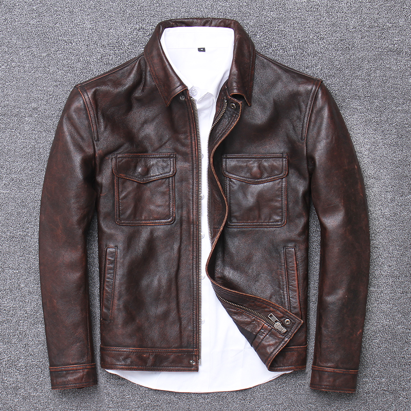 YR!Free Shipping.sales.Clearance.$99.99 Cowhide Jacket.mens Genuine Leather Coat.fashion Vintage Casual Leather Outwear.classic