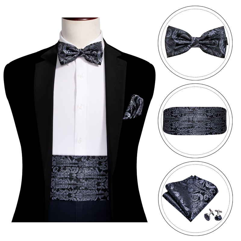 Black Paisley For Men Bow Tie Silk Gray Cummerbund Floral Set Pocket Square Cufflink Formal For Tuxedo Suit Barry.WangYY-1004
