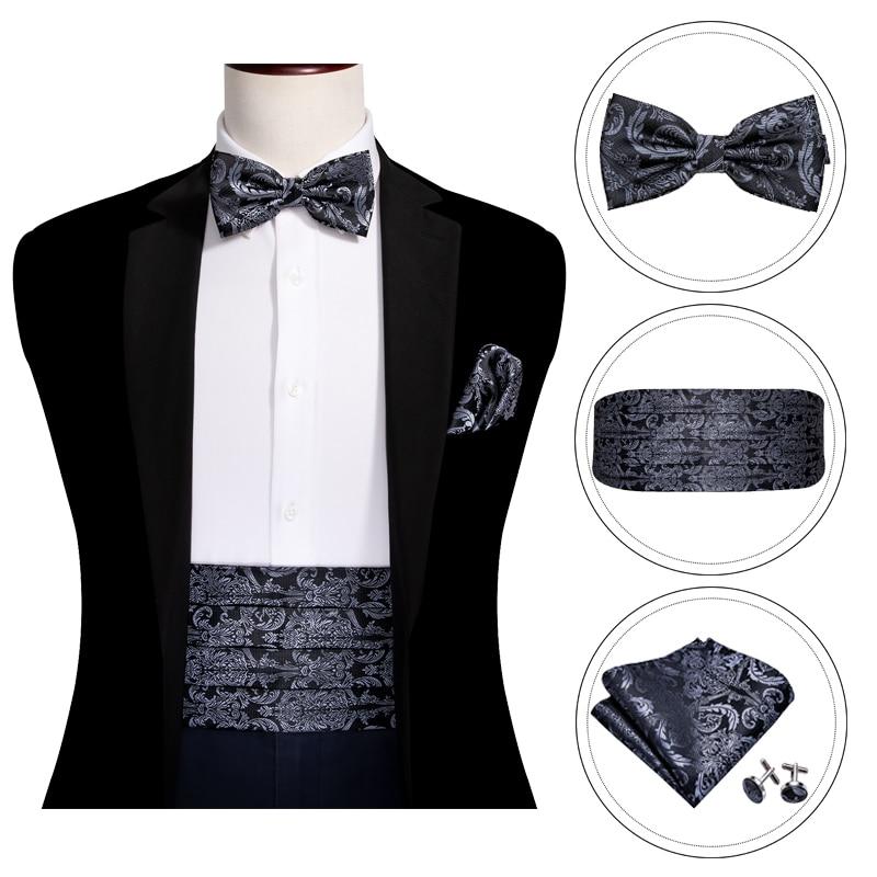 New Polyester Paisley Cummerbund and Bowtie Set Formal Wedding Prom Black