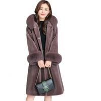 Winter Coat Women Artificial Fox Fur Hooded Cap Collar Lamb Down Dames Jassen Winter Manteau Femme Hiver Elegant Female Overcoat