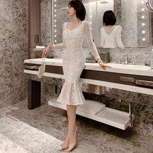 Осень 2020 новое японское женское Облегающее кружевное платье