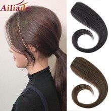 Ailiade 25-30cm cabelo humano natural hairpin em franja frente franja franja falso cabelo franja grampo em franja extensões de cabelo