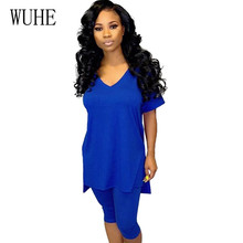 WUHE Casual Two Pieces Sets Summer Rompers Jumpsuits Women V-neck Short Sleeve Hollow Out Slim Playsuits Monos Largos Mujer wuhe women fashion o neck short sleeve long swing top and slim pants summer casual two pieces sets playsuits combinaison femme