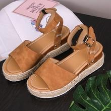 Platform Sandals Women 2020 Summer Ankle Strap Chunky Heels Casual Shoes Sandals Plus Size Black Brown Strappy Sandels For Women