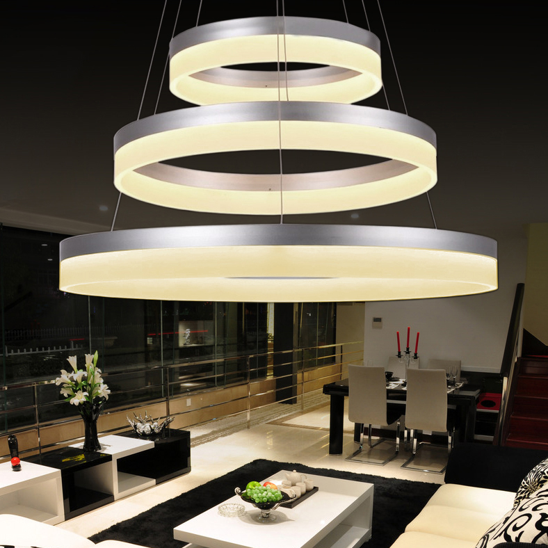 Luxury Modern chandelier LED circle ring chandelier light for living room Acrylic Lustre Chandelier Lighting white sliver 85 265|Pendant Lights|   - title=