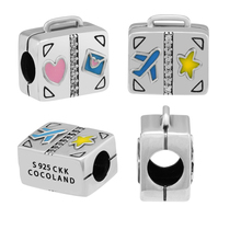 Beads 100% 925 Sterling Silver Suitcase Mixed Enamel Zircon Charm for Jewelry Making Fit Charms Bracelets free shipping YK047